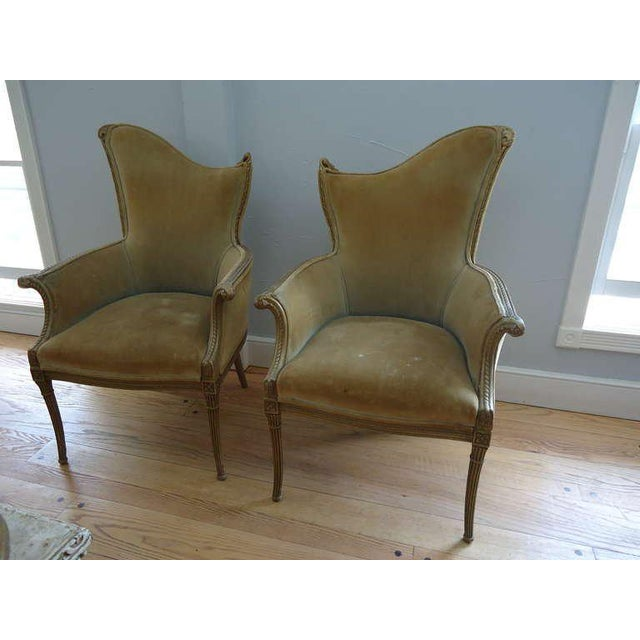 Art Deco French Art Deco Velvet Armchairs - a Pair For Sale - Image 3 of 10