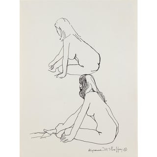 Two Modernist Woman Figures Graphite, 1950s-1960s For Sale