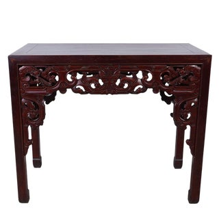 Antique Chinese Carved Beechwood Dragon Table For Sale