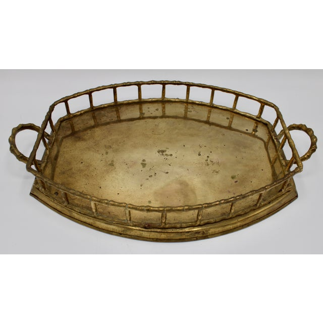 Mid 20th Century Brass Bamboo Tray For Sale In Tulsa - Image 6 of 8