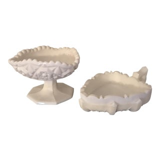 Vintage Milk Glass Diamond Cut Footed Candy Dish and Handeled Candle Holder - 2 Pc Set
