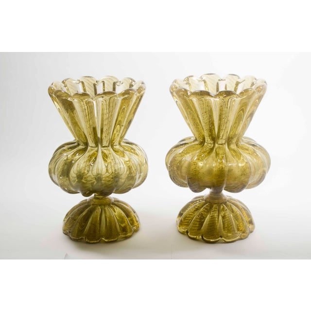 1920s 1920s Gold Murano Vases - a Pair For Sale - Image 5 of 5