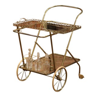 Mid-20th Century French Brass Cart With Removable Upper Tray
