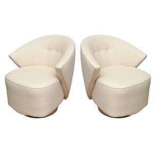 Vintage Milo Baughman Sculptural Swivel Lounge or Side Chairs - a Pair For Sale