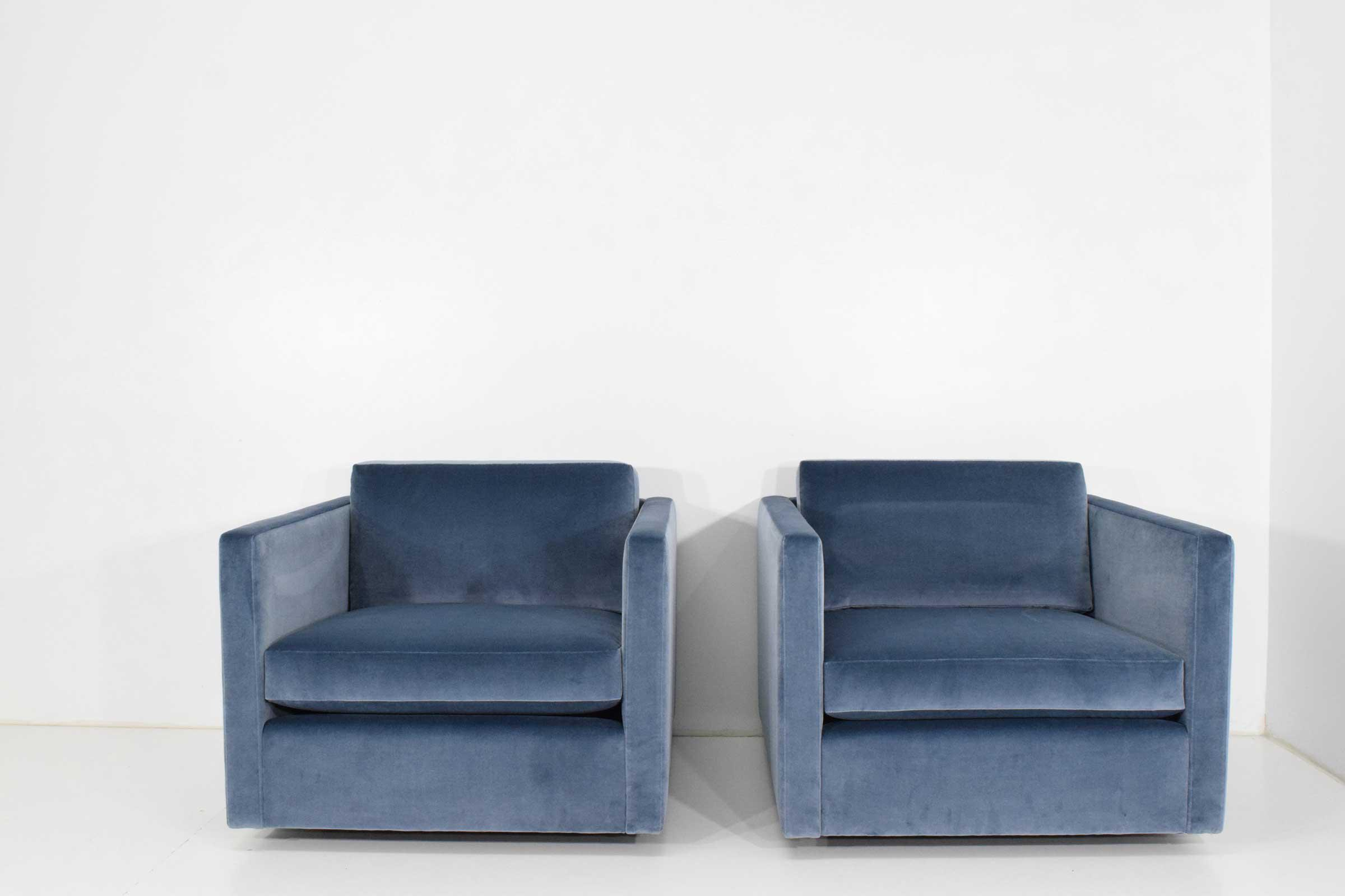 Pair Of Knoll Charles Pfister Chairs In Velvet   Image 2 Of 12