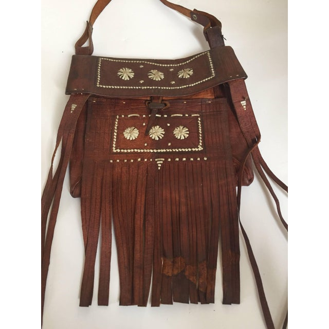 Brown Moroccan Crossbody Leather Handcrafted African Tuareg Bag With Fringes For Sale - Image 8 of 8
