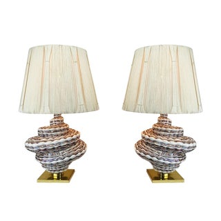Pair of Spiral Table Lamps in the Style of Murano With String Shades For Sale