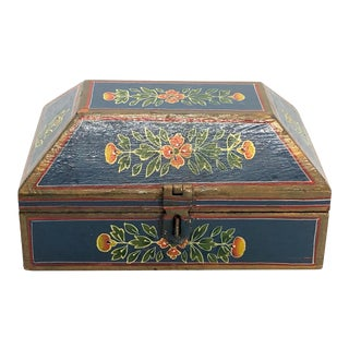 Antique Blue Painted Floral Wooden Box For Sale