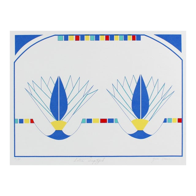 """""""Lotus Diptych"""" Minimal Abstract Silkscreen in Blue, Circa 1980s For Sale"""