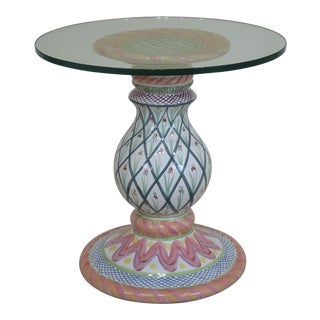 Folk Art Mackenzie Childs Round Glass Top Porcelain Base Dining Table For Sale