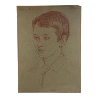 Original 1925 Sepia Sketch Portrait of Boy Listed