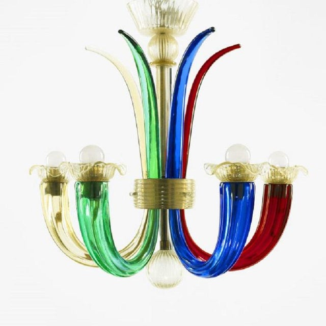 1940s Murano Multi-Colored Chandelier by Gio Ponti for Venini For Sale - Image 5 of 5