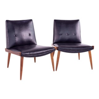 Mid Century Paul McCobb Style Kroehler Black Vinyl and Walnut Slipper Chairs - Pair For Sale