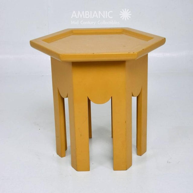 Yellow Lacquer Finish Hexagon Side Table For Sale - Image 4 of 6