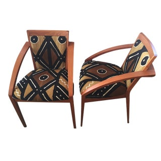 1960's Chairs W/Bogolan Cloth Pair For Sale