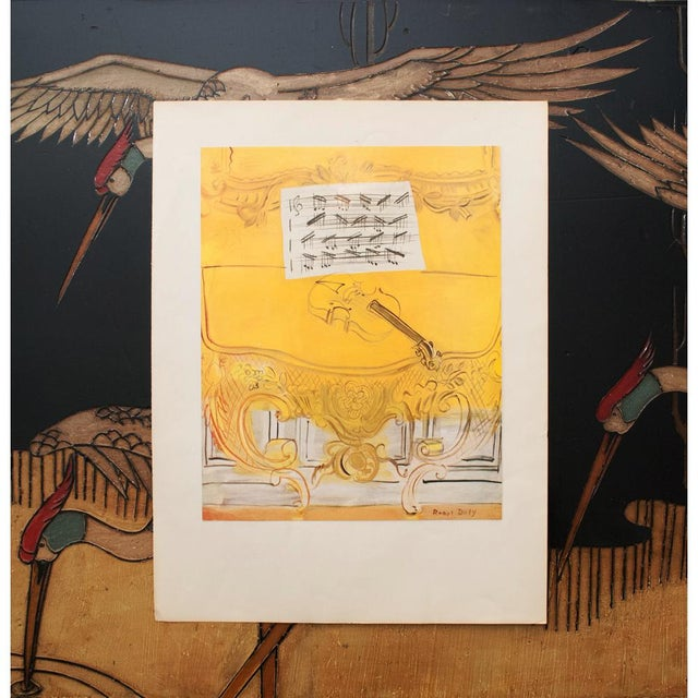 """American Classical 1950s Raoul Dufy """"Yellow Console With a Violin"""" First Edition Lithograph For Sale - Image 3 of 9"""