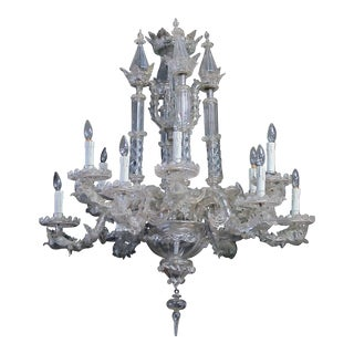 An Impressive Venetian Glass 12-Light Chandelier With Dolphin-Form Arms For Sale