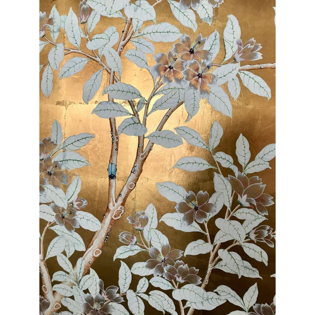 Asian Chinoiserie Old Handpainted Wallpaper Panel, Mounted on Foam Core For Sale - Image 3 of 8