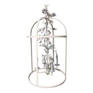 Italian Themed Hand Painted Bird Cage Chandelier For Sale