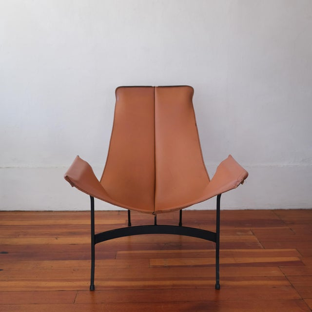 William Katavolos for Leathercrafter of New York iron frame sling lounge chair, USA, 1960s.