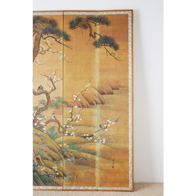 Mid 20th Century Japanese Edo Style Four-Panel Spring Landscape Screen For Sale - Image 5 of 13