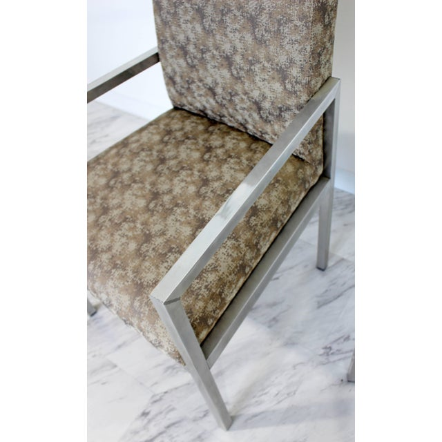 Brown Mid-Century Modern Set of Six Milo Baughman for Dia Chrome Dining Chairs For Sale - Image 8 of 10