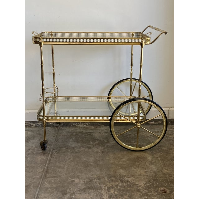 Mid 20th Century Vintage Brass Bar Cart with Tray For Sale - Image 5 of 12