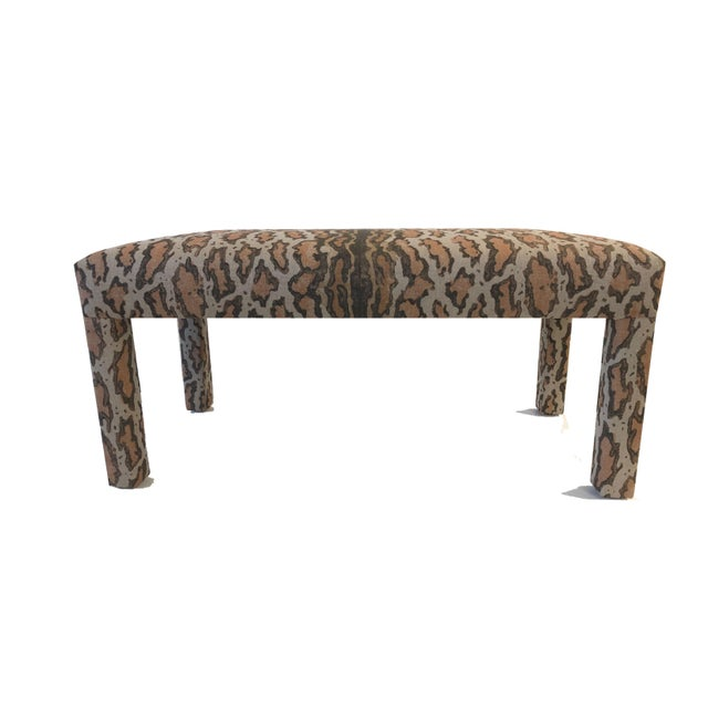 Taupe Late 20th Century Parson Upholstered Bench For Sale - Image 8 of 9