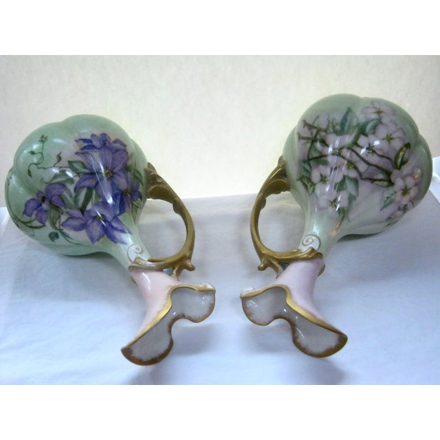Antique Hand Painted Unsigned Limoges Ewers - A Pair - Image 8 of 8