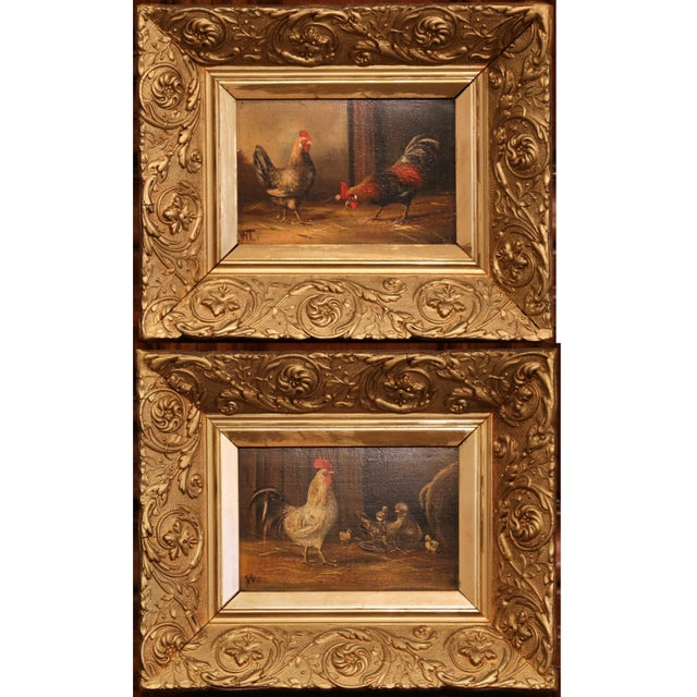 Pair of 19th Century French Oil Chicken Paintings on Board in Carved Frames Circa 1880 For Sale - Image 10 of 10