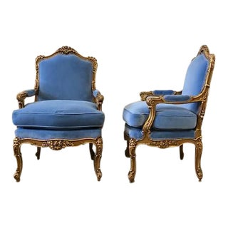 Early 20th Century Gilt Louis XV Carved Fauteuils - a Pair For Sale