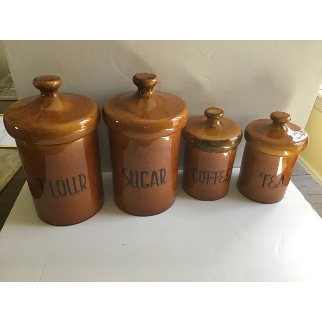 Rustic Pottery Canister McCoy Flour Coffee Set - 4 Pieces For Sale - Image 9 of 9