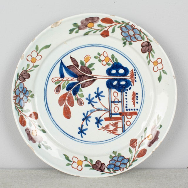 Traditional 18th Century Delft Ceramic Plate For Sale - Image 3 of 6