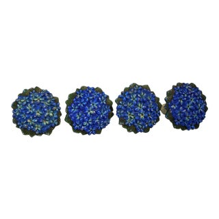 Antique Curtain Tiebacks in Painted Cast Iron Forget-Me-Not Motif - Set of 4 For Sale