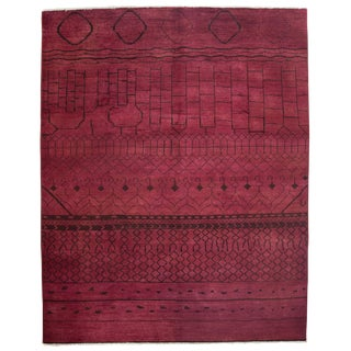 "Moroccan Hand Knotted Red Wool Area Rug - 8'1"" X 10'"