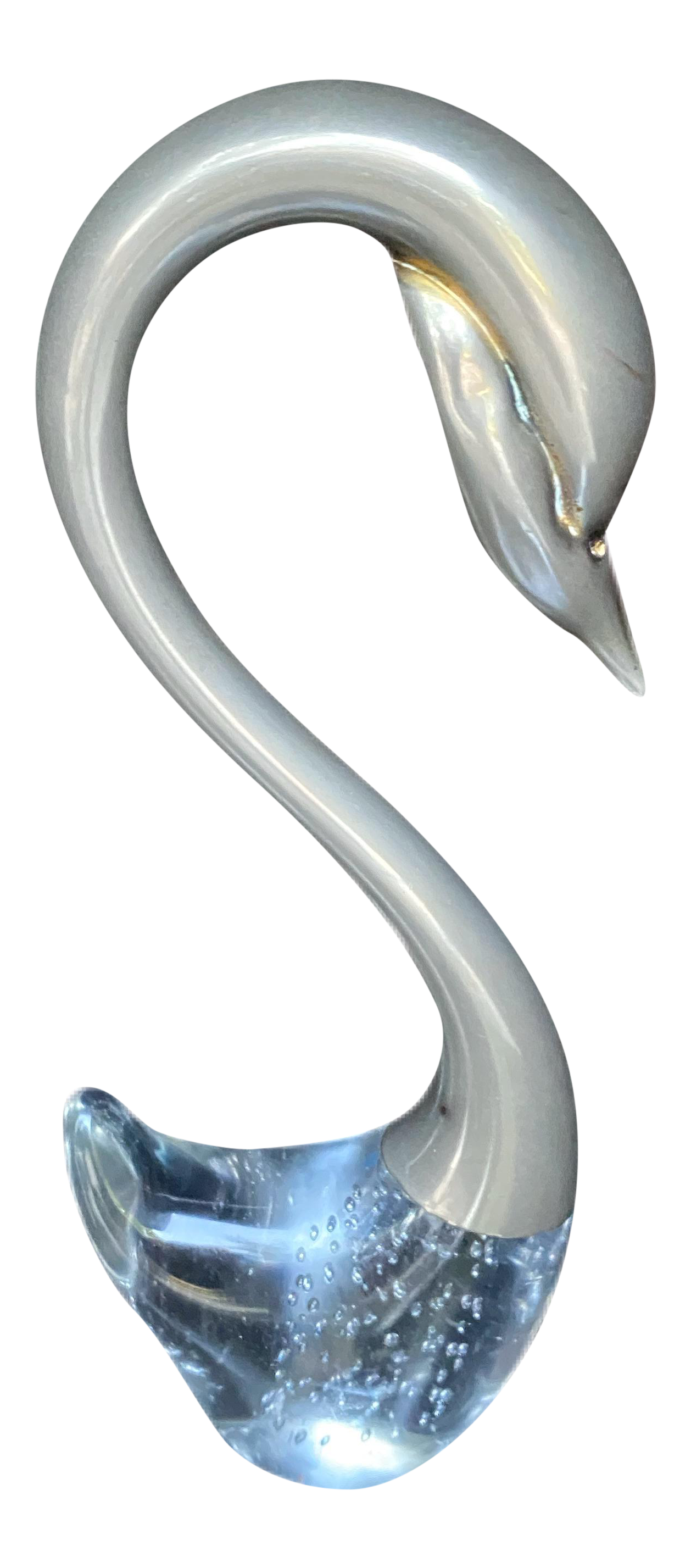 Art Glass Swan with Control Bubbles
