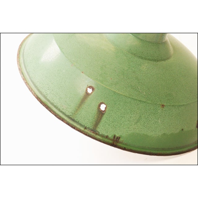 Green Vintage Industrial Green Enamel Light Fixture with Wall Bracket For Sale - Image 8 of 11