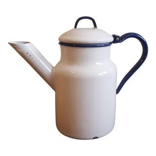 Vintage Rustic Enamel Teapot For Sale
