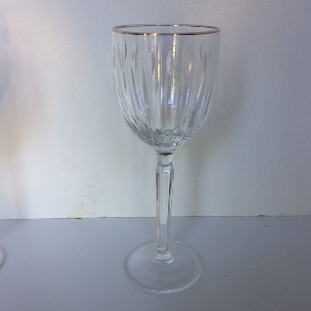 Contemporary Cut Crystal Gold Rim Wine Glasses - a Pair For Sale - Image 3 of 13