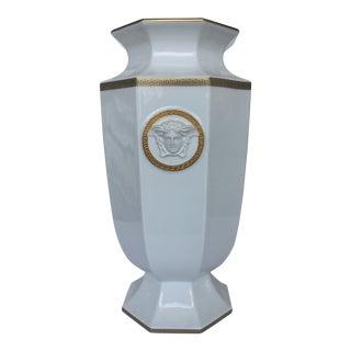 White 'Gorgona' Porcelain Versace Octagonal Vase For Sale