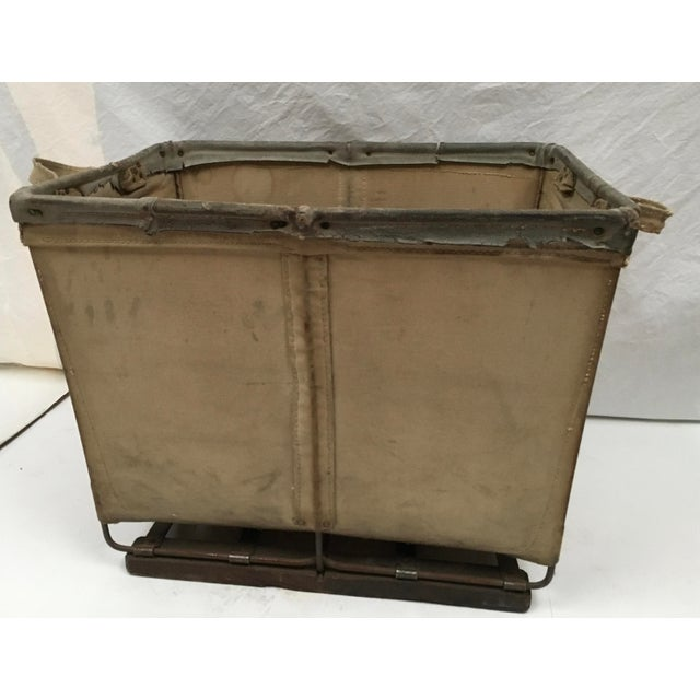 1940s Vintage McElmoyl Industrial Canvas Laundry Basket For Sale - Image 5 of 11