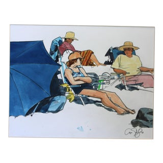 1980s Arno Sternglass Beach Scene With Blue Umbrella Watercolor Painting For Sale