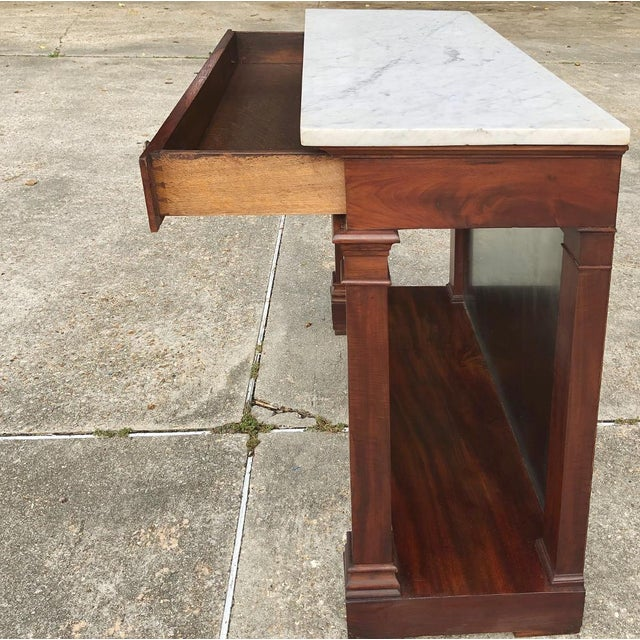 Metal 19th Century French 2nd Empire Period Marble Top Console For Sale - Image 7 of 11