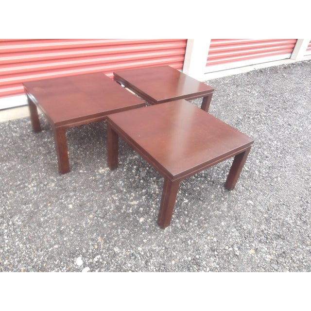 1960s Mid-Century Modern Henredon Parquet Wood Floating Top Dark Expresso Coffee Table For Sale - Image 5 of 7