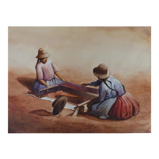 Watercolor From Peru Depicting Typical Life For Sale