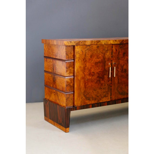 Gio Ponti Gio Ponti Sideboard Midcentury in Walnut Briar and Brass Attributed, 1950s For Sale - Image 4 of 11