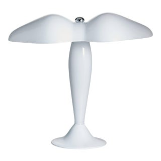 Carlo Moretti Contemporary Murano Milk White Glass Mouth Blown Office Table Lamp For Sale