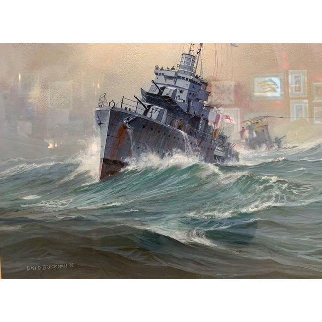 1990s David Brackman Marine Gouache Painting For Sale - Image 9 of 12