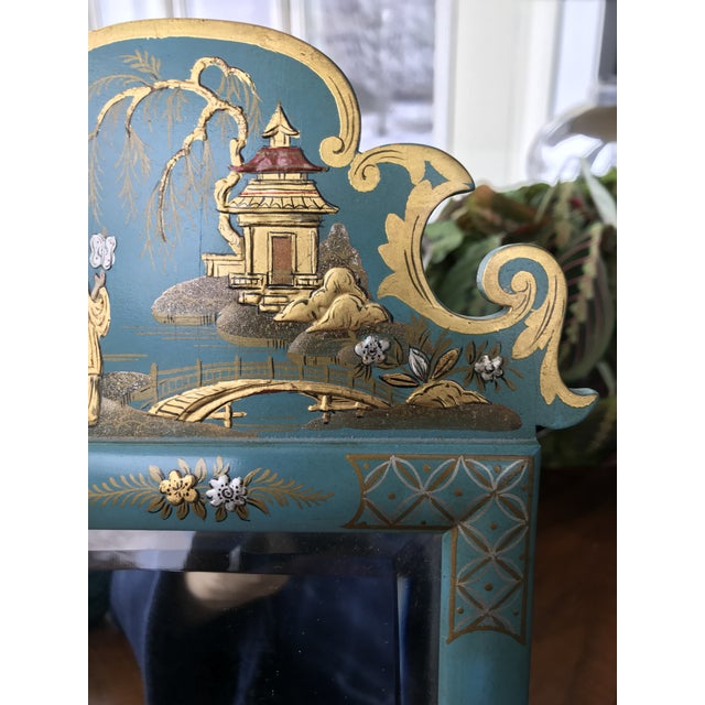 1970s 1970s Vintage Mid Century Chinoiserie Teal Lacquered Pagoda Textured Painting Dressing Mirror For Sale - Image 5 of 12