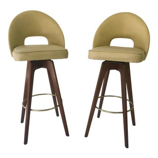 Mid-Century Modern Walnut Swivel Barstools - A Pair For Sale
